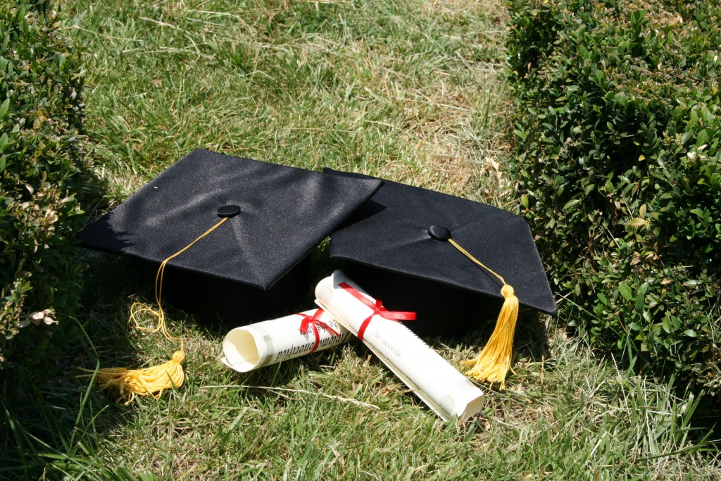 Mortar boards and diplomas