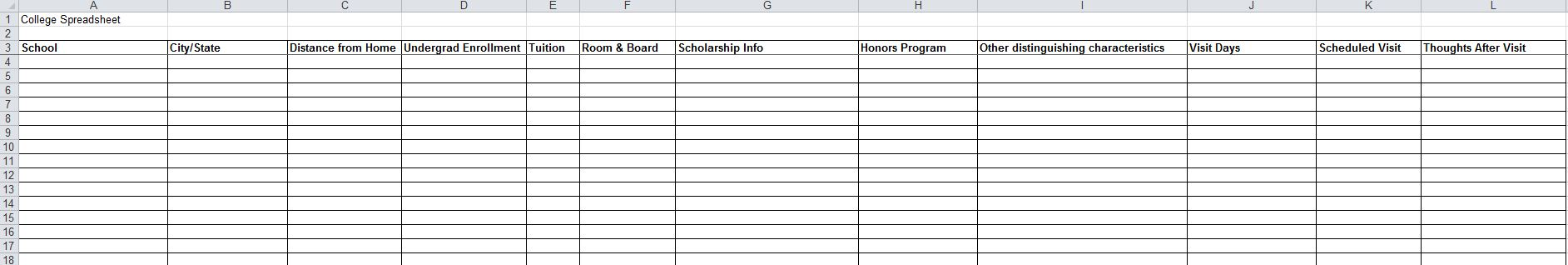 Image of the college search spreadsheet