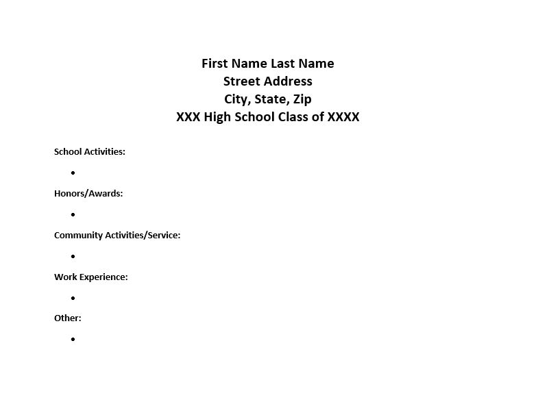creating an activity resume my kid s college choice